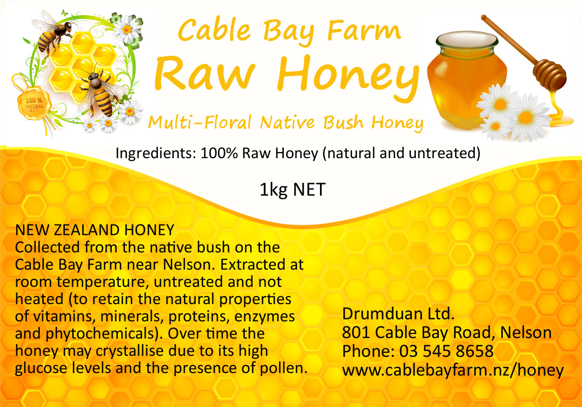 Cable Bay  Honey label 1kg 97x68mm
