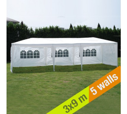 white party gazebo 3x9m
